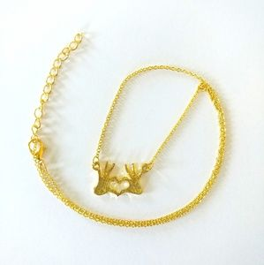 Jewelry - I Love You Heart Hands Necklace Goldtone